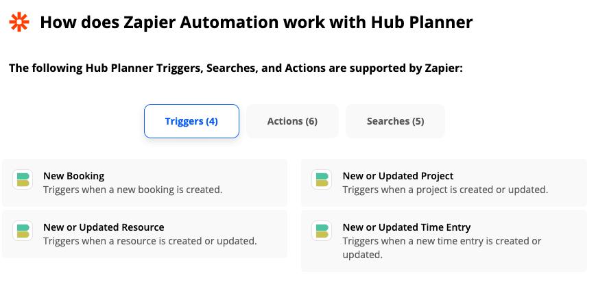 Hub Planner API Zapier
