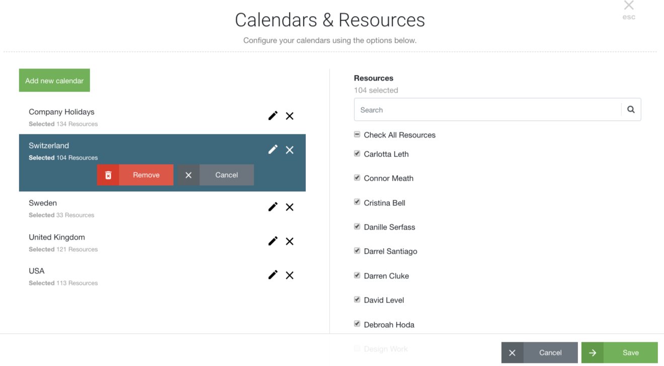 Edit Resource Calendars