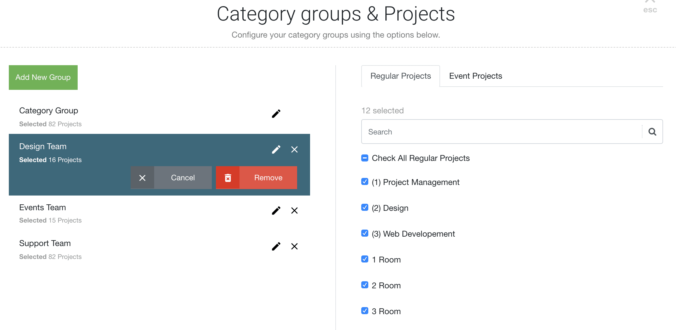 Booking Category Groups