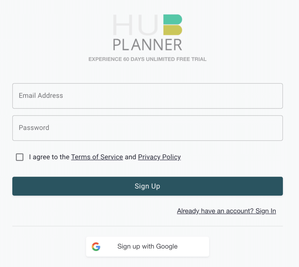 Hub Planner Login - Google Sign Up